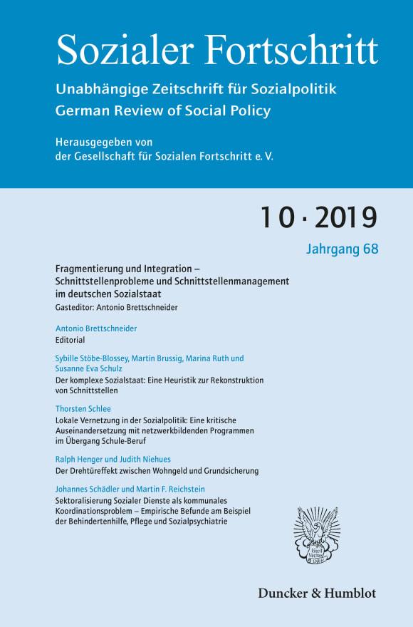 Cover Fragmentierung und Integration – Schnittstellenprobleme und Schnittstellenmanagement im deutschen Sozialstaat (SF 10/2019)