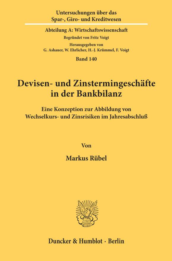 Cover Devisen- und Zinstermingeschäfte in der Bankbilanz
