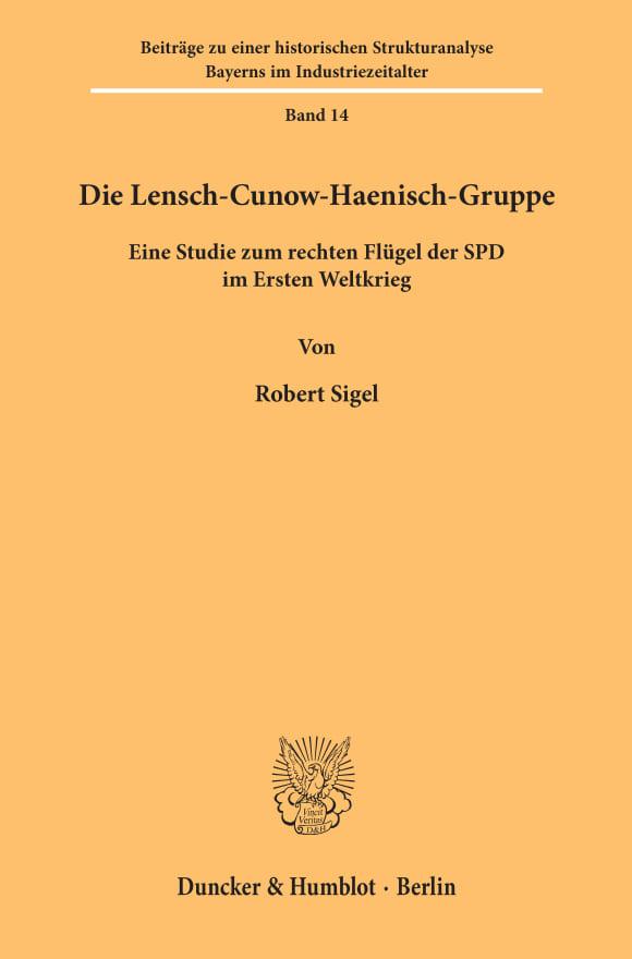Cover Die Lensch-Cunow-Haenisch-Gruppe