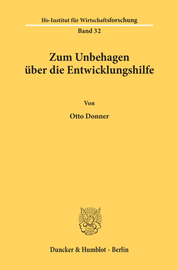 Cover ifo Sonderschriften des ifo Instituts für Wirtschaftsforschung (IFO S)