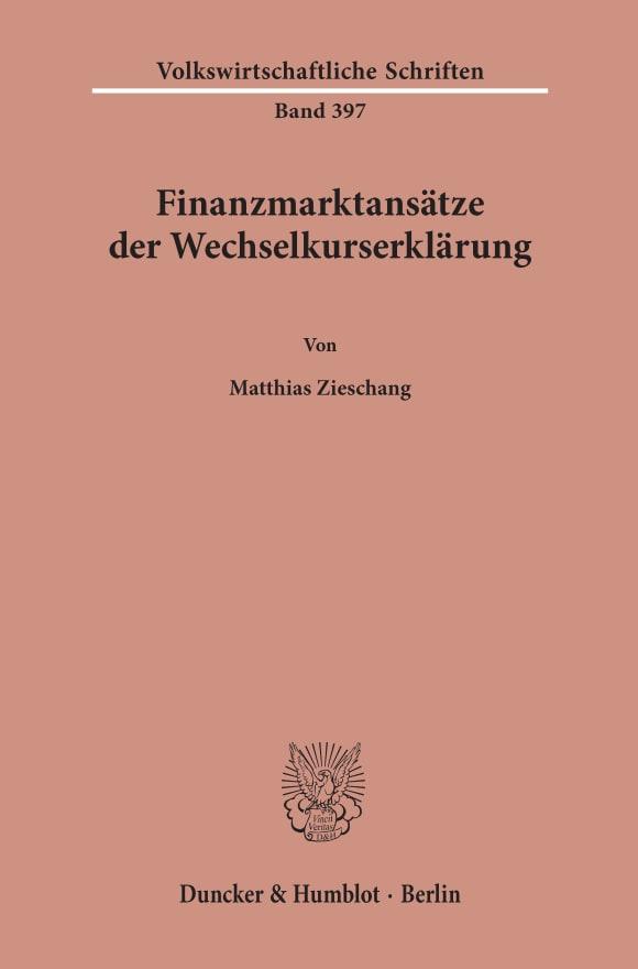 Cover Finanzmarktansätze der Wechselkurserklärung