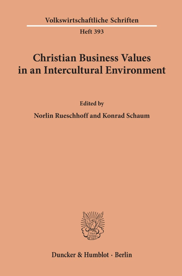 Cover Christian Business Values in an Intercultural Environment