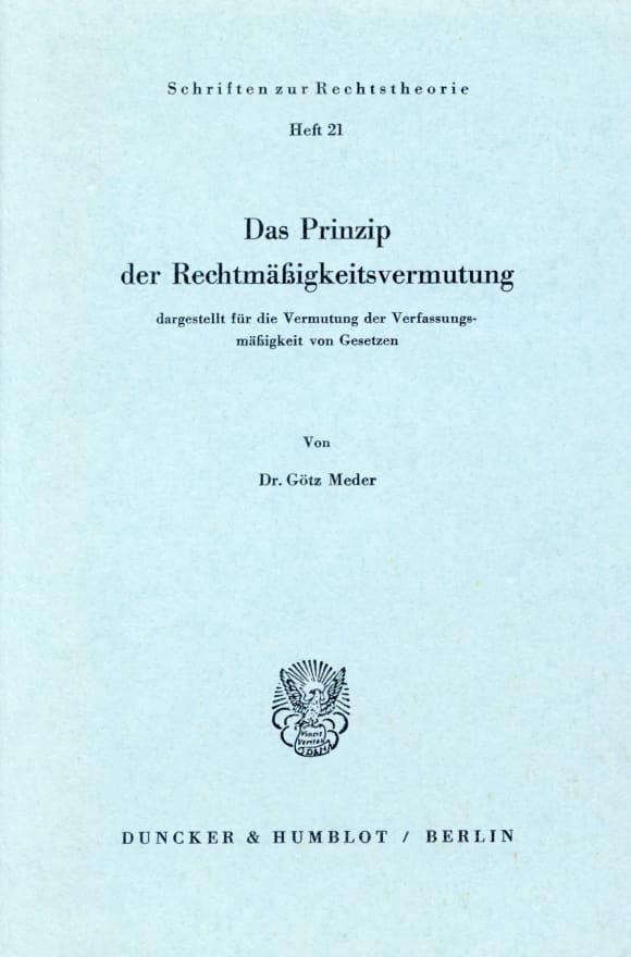 Cover Das Prinzip der Rechtsmäßigkeitsvermutung,