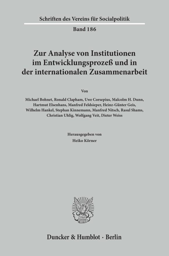 Cover Zur Analyse von Institutionen im Entwicklungsprozeß und in der internationalen Zusammenarbeit