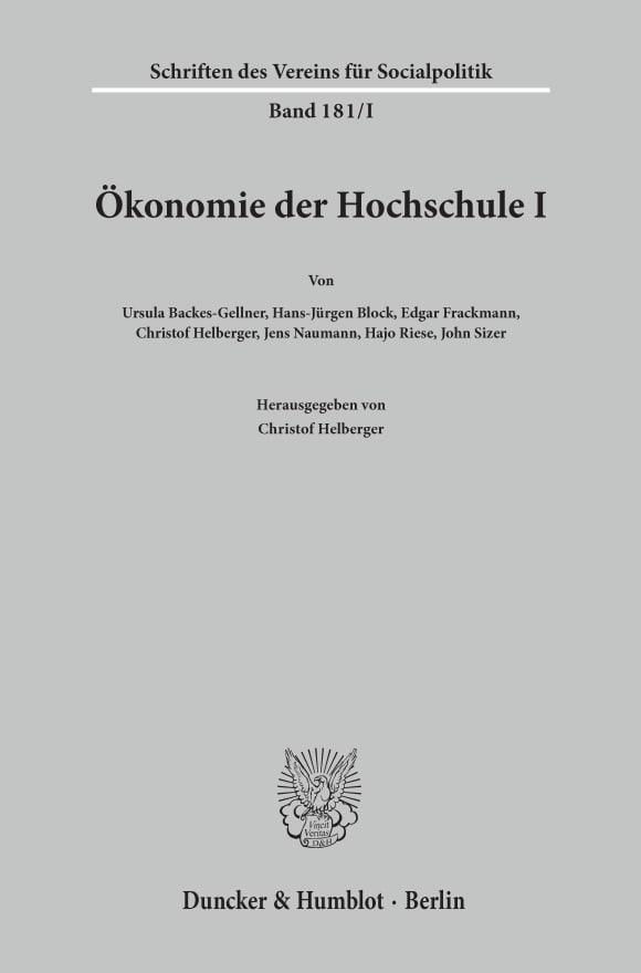 Cover Ökonomie der Hochschule I