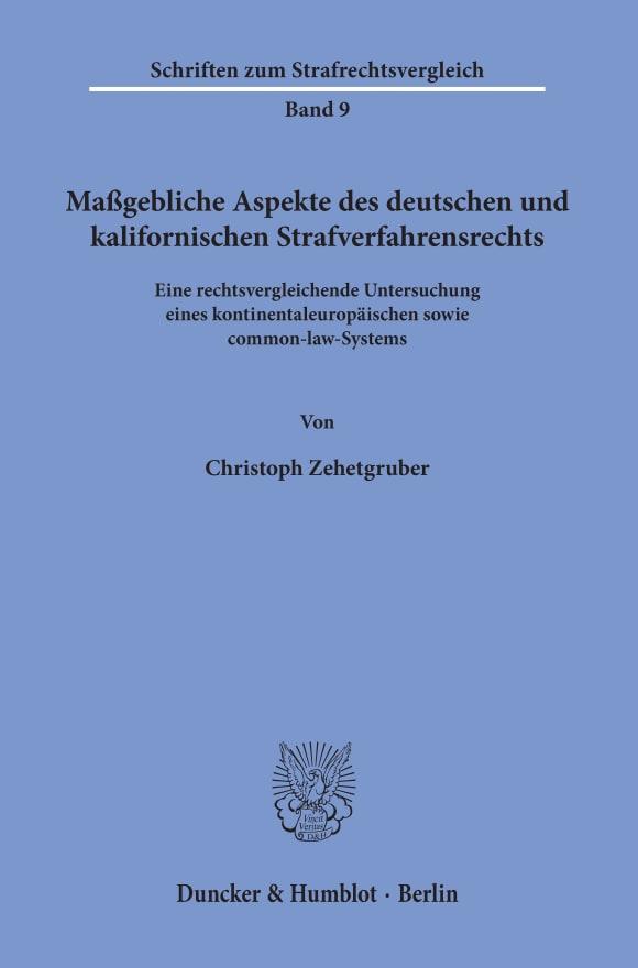 Cover Schriften zum Strafrechtsvergleich (SRV)