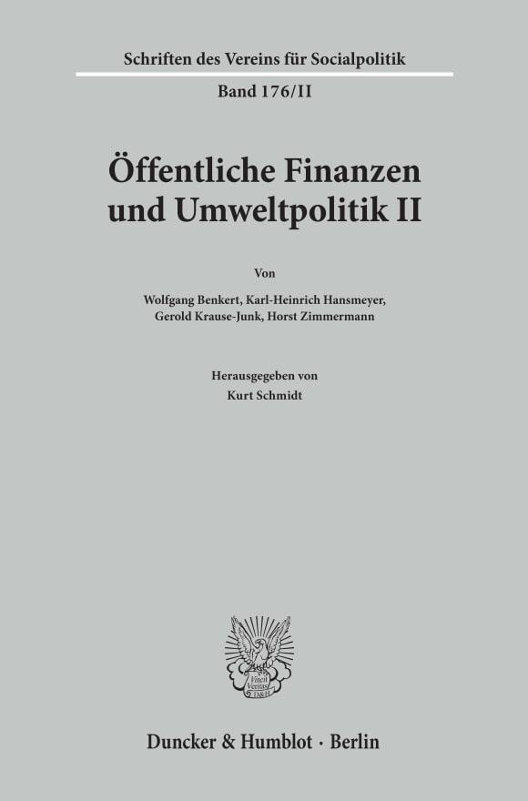 Cover Öffentliche Finanzen und Umweltpolitik II