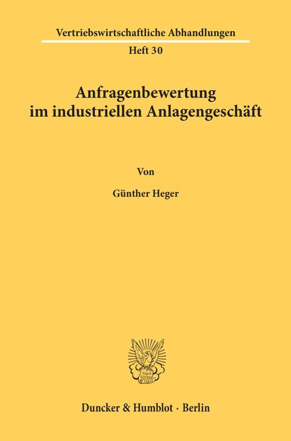Cover Anfragenbewertung im industriellen Anlagengeschäft