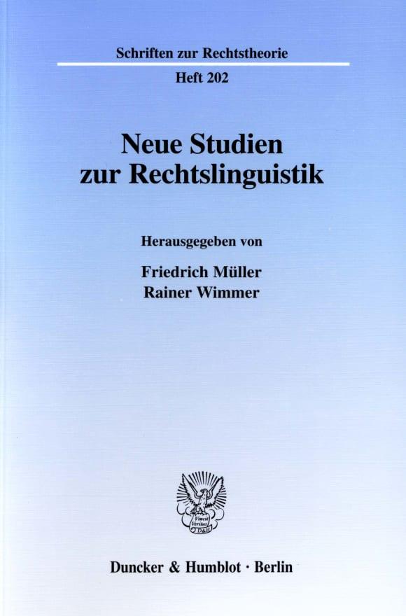 Cover Neue Studien zur Rechtslinguistik