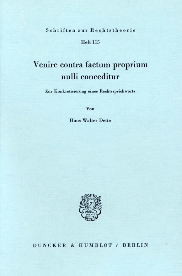 Cover Venire contra factum proprium nulli conceditur