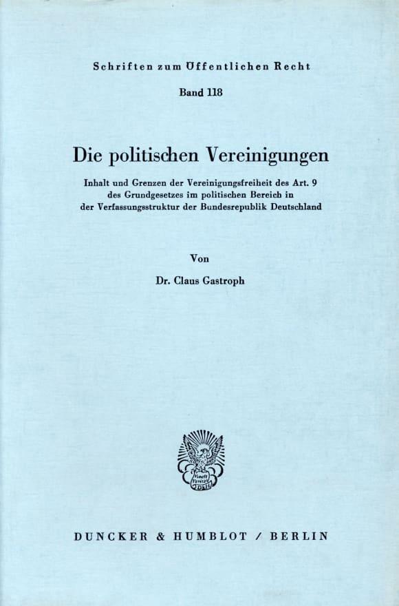 Cover Die politischen Vereinigungen
