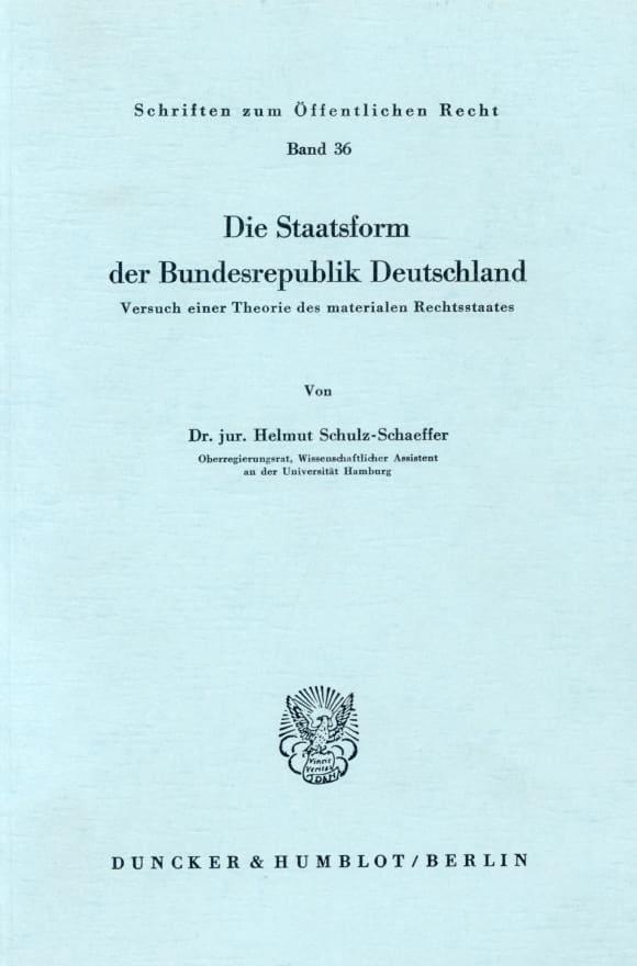 Cover Die Staatsform der Bundesrepublik Deutschland