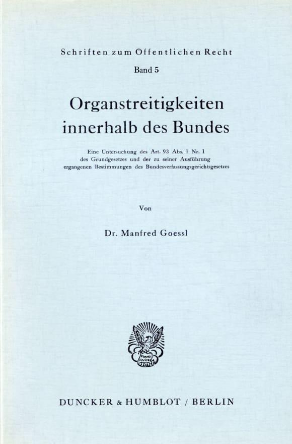 Cover Organstreitigkeiten innerhalb des Bundes