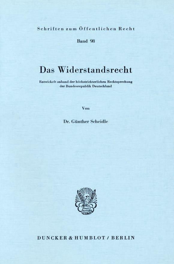 Cover Das Widerstandsrecht