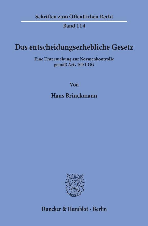 Cover Das entscheidungserhebliche Gesetz