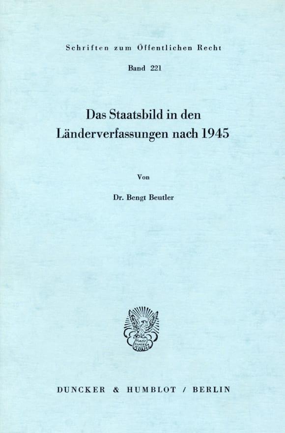 Cover Das Staatsbild in den Länderverfassungen nach 1945