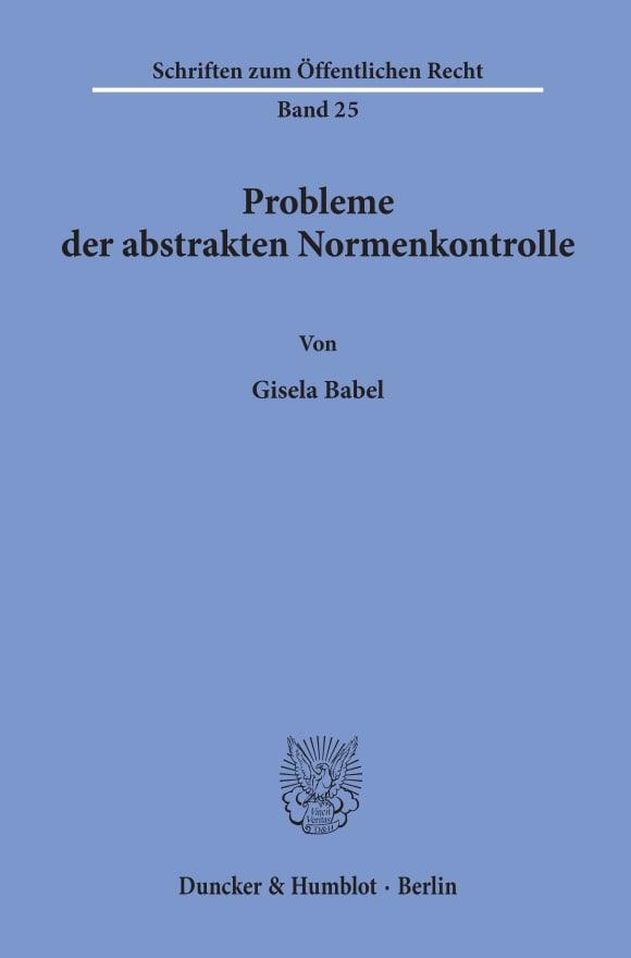 Cover Probleme der abstrakten Normenkontrolle