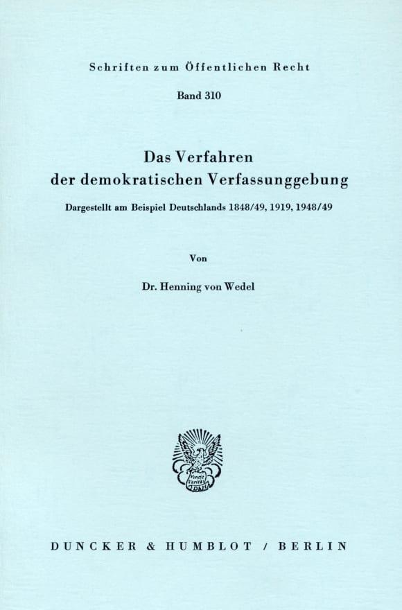 Cover Das Verfahren der demokratischen Verfassunggebung