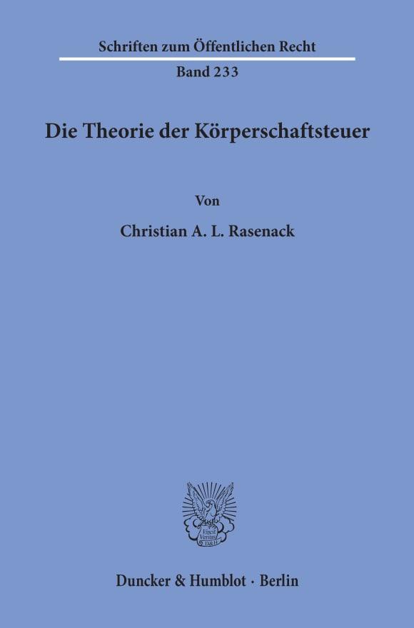Cover Die Theorie der Körperschaftsteuer