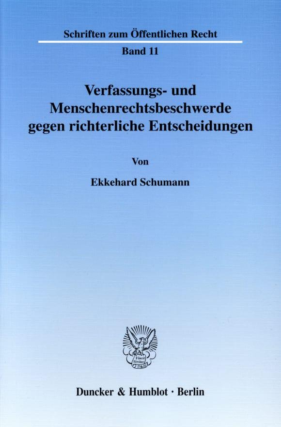 Cover Verfassungs- und Menschenrechtsbeschwerde gegen richterliche Entscheidungen