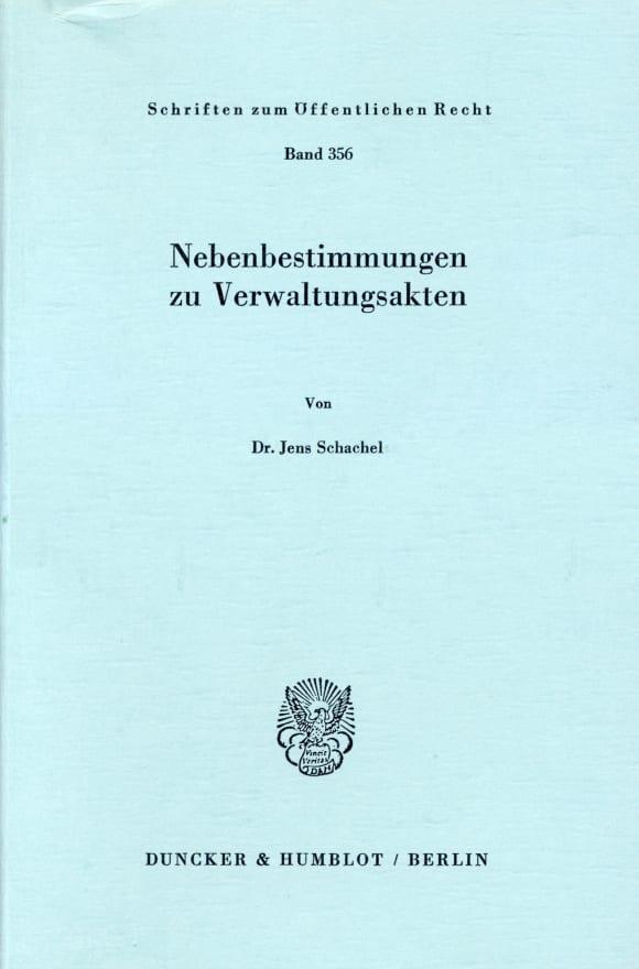 Cover Nebenbestimmungen zu Verwaltungsakten