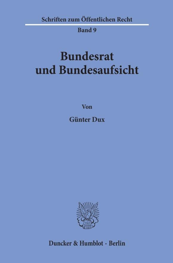 Cover Bundesrat und Bundesaufsicht