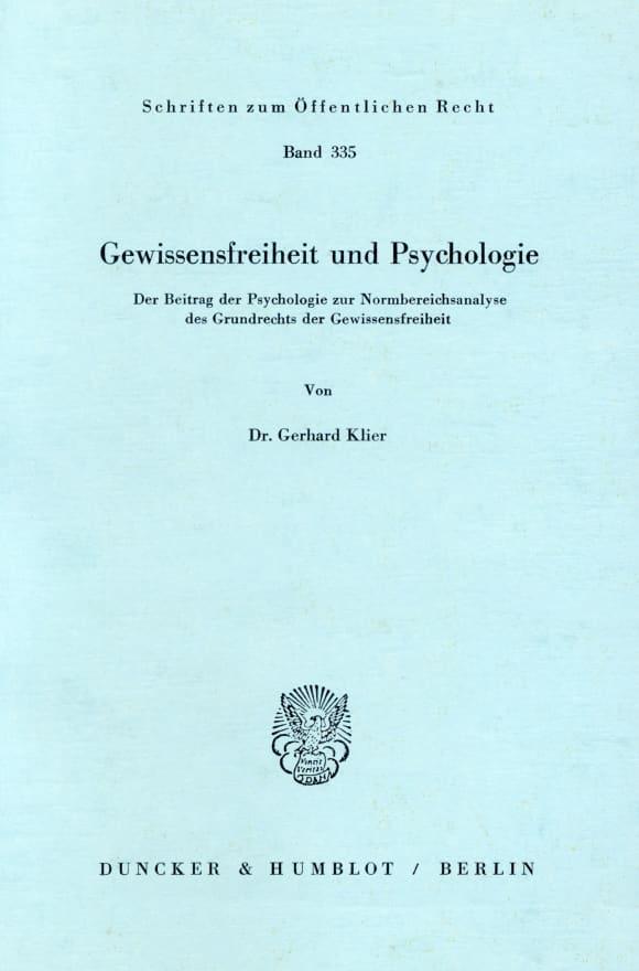 Cover Gewissensfreiheit und Psychologie