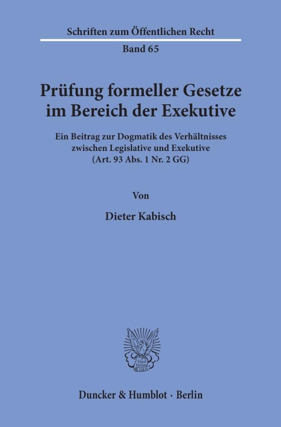Cover Prüfung formeller Gesetze im Bereich der Exekutive