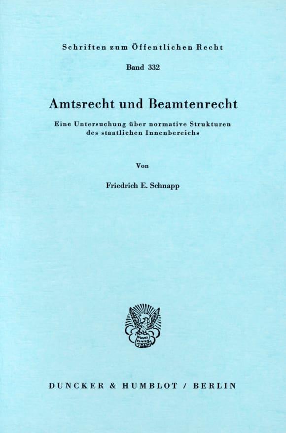 Cover Amtsrecht und Beamtenrecht