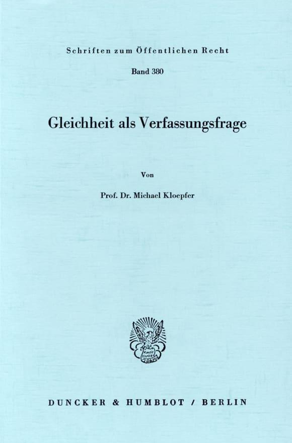 Cover Gleichheit als Verfassungsfrage