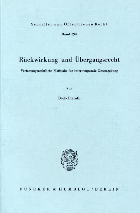 Cover Rückwirkung und Übergangsrecht