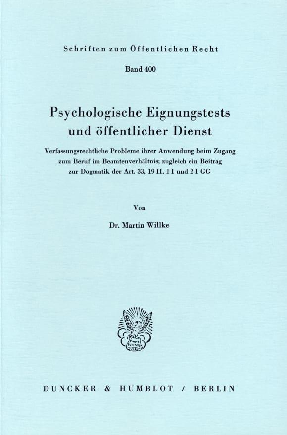 Cover Psychologische Eignungstests und öffentlicher Dienst