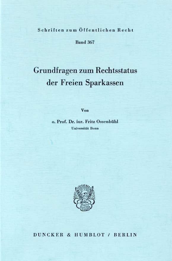 Cover Grundfragen zum Rechtsstatus der Freien Sparkassen