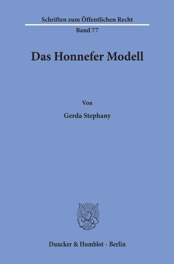 Cover Das Honnefer Modell
