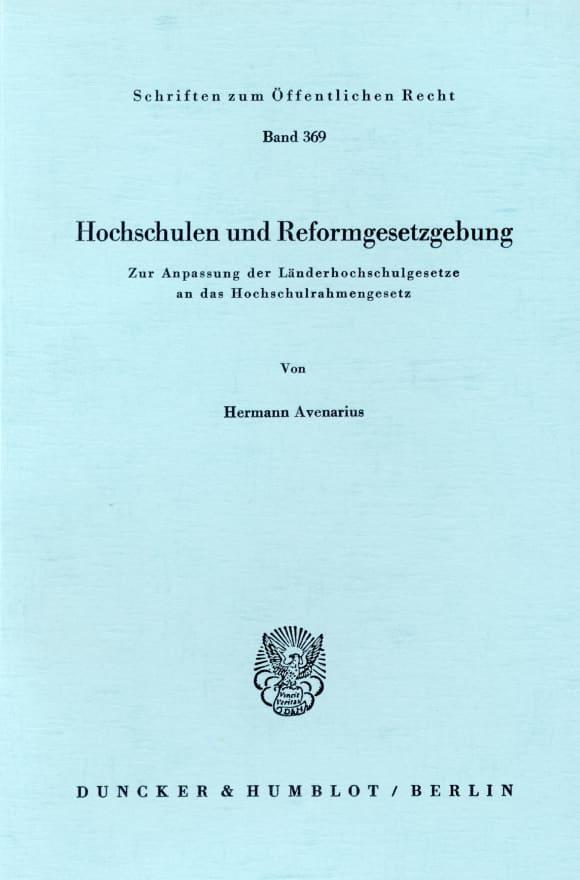 Cover Hochschulen und Reformgesetzgebung
