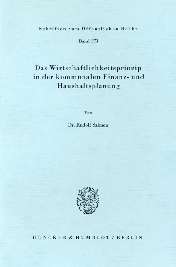 Cover Das Wirtschaftlichkeitsprinzip in der kommunalen Finanz- und Haushaltsplanung