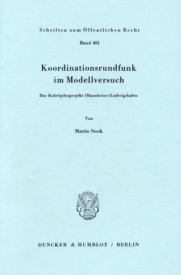 Cover Koordinationsrundfunk im Modellversuch