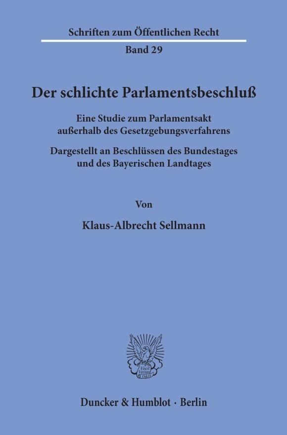 Cover Der schlichte Parlamentsbeschluß