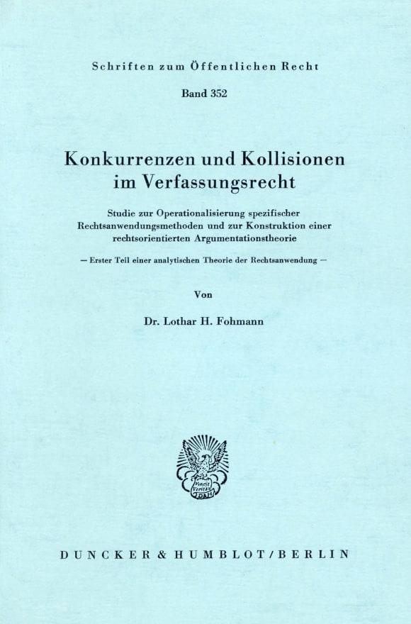 Cover Konkurrenzen und Kollisionen im Verfassungsrecht