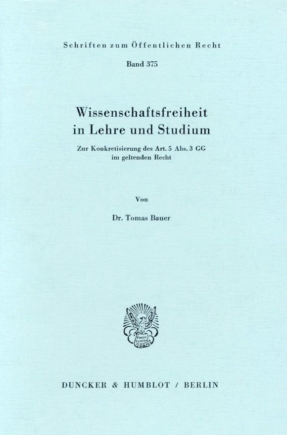 Cover Wissenschaftsfreiheit in Lehre und Studium