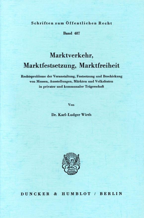 Cover Marktverkehr, Marktfestsetzung, Marktfreiheit