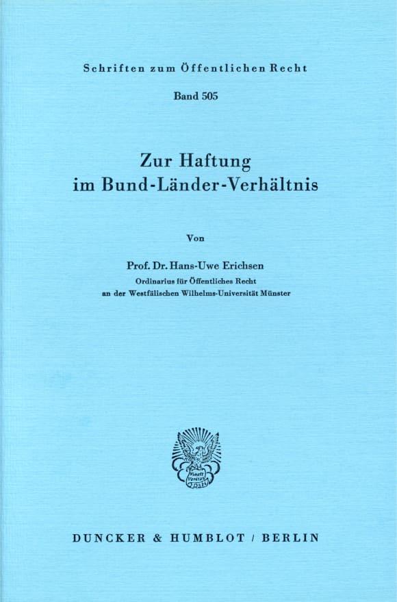Cover Zur Haftung im Bund-Länder-Verhältnis