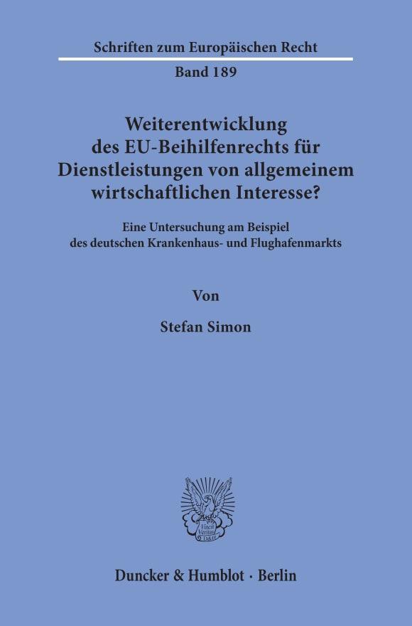Cover Weiterentwicklung des EU-Beihilfenrechts für Dienstleistungen von allgemeinem wirtschaftlichen Interesse?