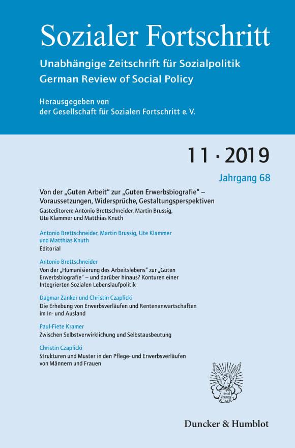 """Cover Von der """"Guten Arbeit"""" zur """"Guten Erwerbsbiografie"""" – Voraussetzungen, Widersprüche, Gestaltungsperspektiven (SF 11/2019)"""