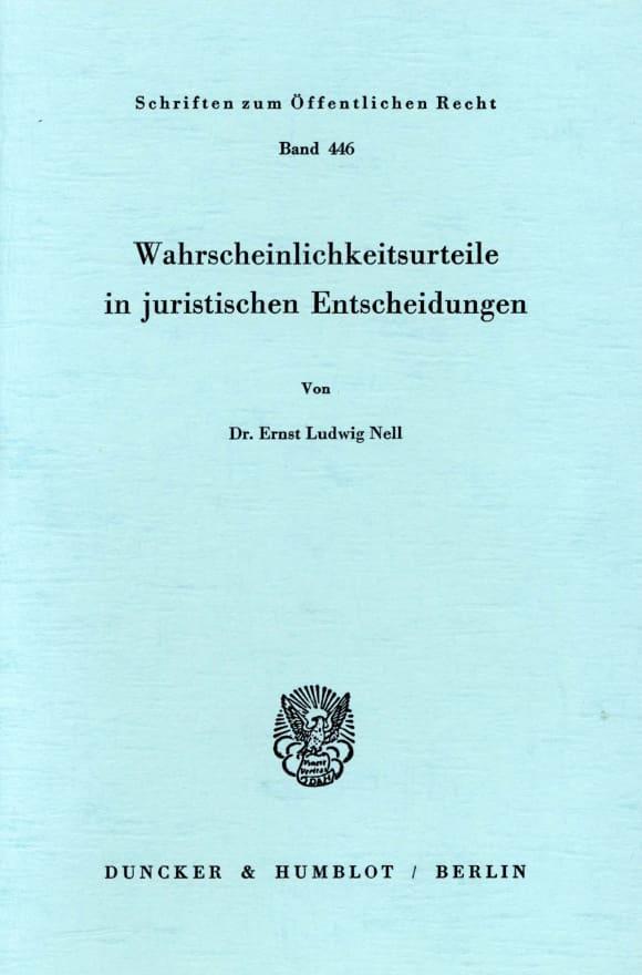 Cover Wahrscheinlichkeitsurteile in juristischen Entscheidungen
