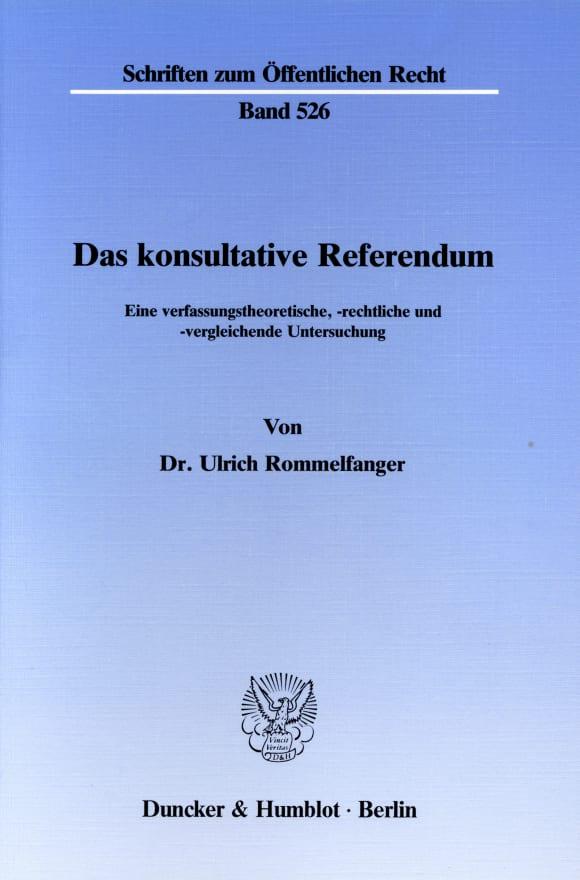 Cover Das konsultative Referendum