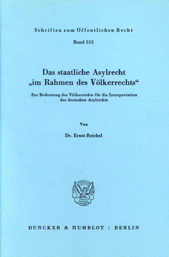 Cover Das staatliche Asylrecht
