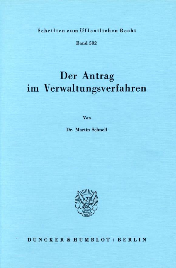 Cover Der Antrag im Verwaltungsverfahren