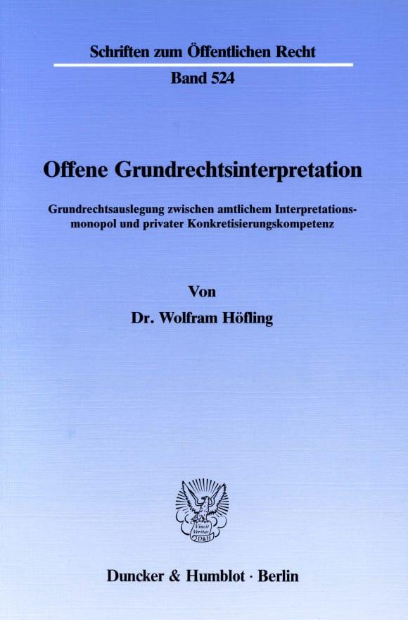 Cover Offene Grundrechtsinterpretation