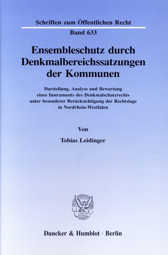 Cover Ensembleschutz durch Denkmalbereichssatzungen der Kommunen